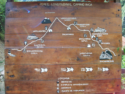 map of the inca trail