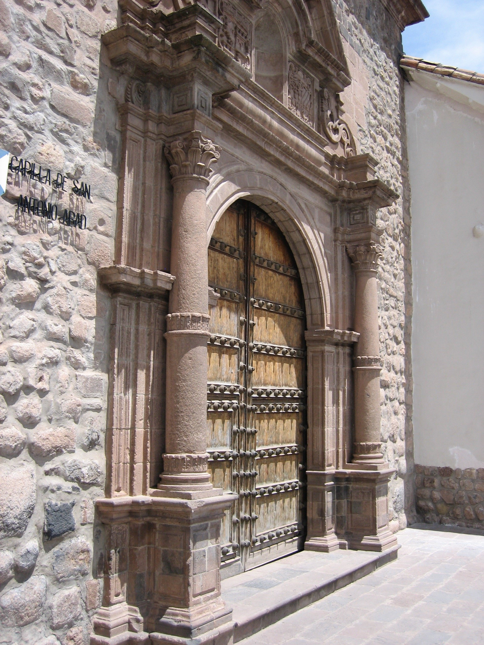 church door at the plaza de armas in cusco peru