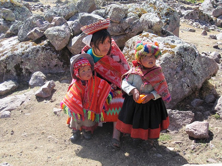 local traditional family people on the lares valley trek in cusco peru