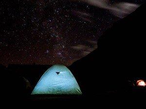 camp site on rainbown mountain trek