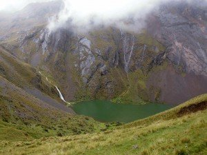 Ancascocha Lake on Ancascocha Trek Trail in the Andean Mountains of Peru, Killa Expeditions