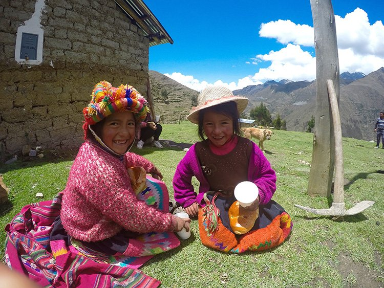 Little local girls in Willoc Community at Killa Expeditions Christmas Charity Event social projects  Cusco, Peru December 2016