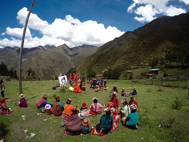 Families relaxing in Willoc Community at Killa Expeditions Christmas Charity Event Cusco, Peru December 2016