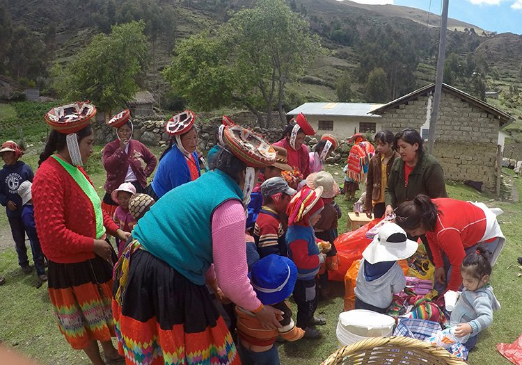 Families Given Supplies in Willoc Community at Killa Expeditions Christmas Charity Event Cusco, Peru December 2016
