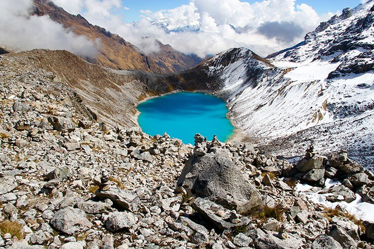 salkantay lake on salkantay trek cusco peru killa expeditions adventure tours