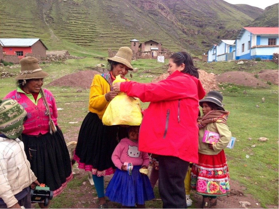 charity event at chillca village in the rainbow mountains of cusco peru