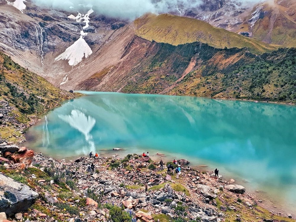 lake humantay on the salkantay trek to machu picchu