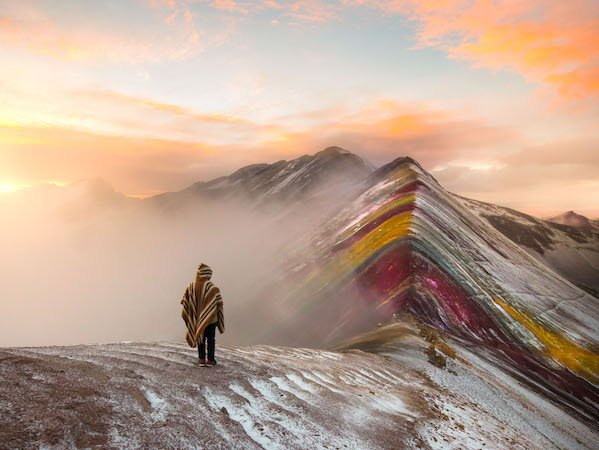 rainbow mountain at sunrise